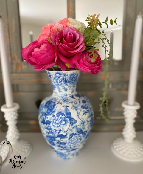 DIY chinoiserie vase pink flowers
