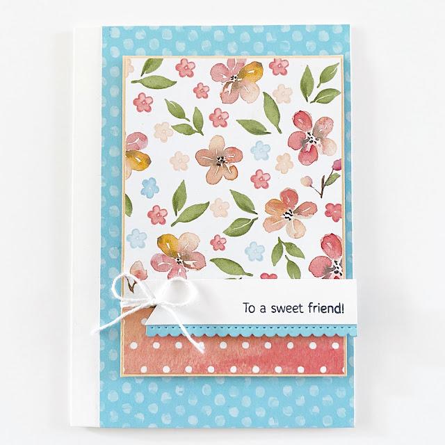 Kaart gemaakt met Prachtperzik design papier / Sweet as a Peach designer series paper van Stampin' Up!