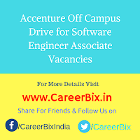 Accenture Off Campus Drive for Software Engineer Associate Vacancies