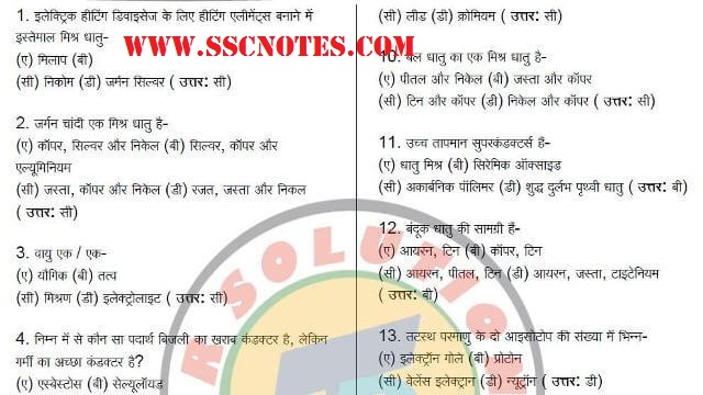 650 General Science MCQ for RRB ALP Exam PDF Download