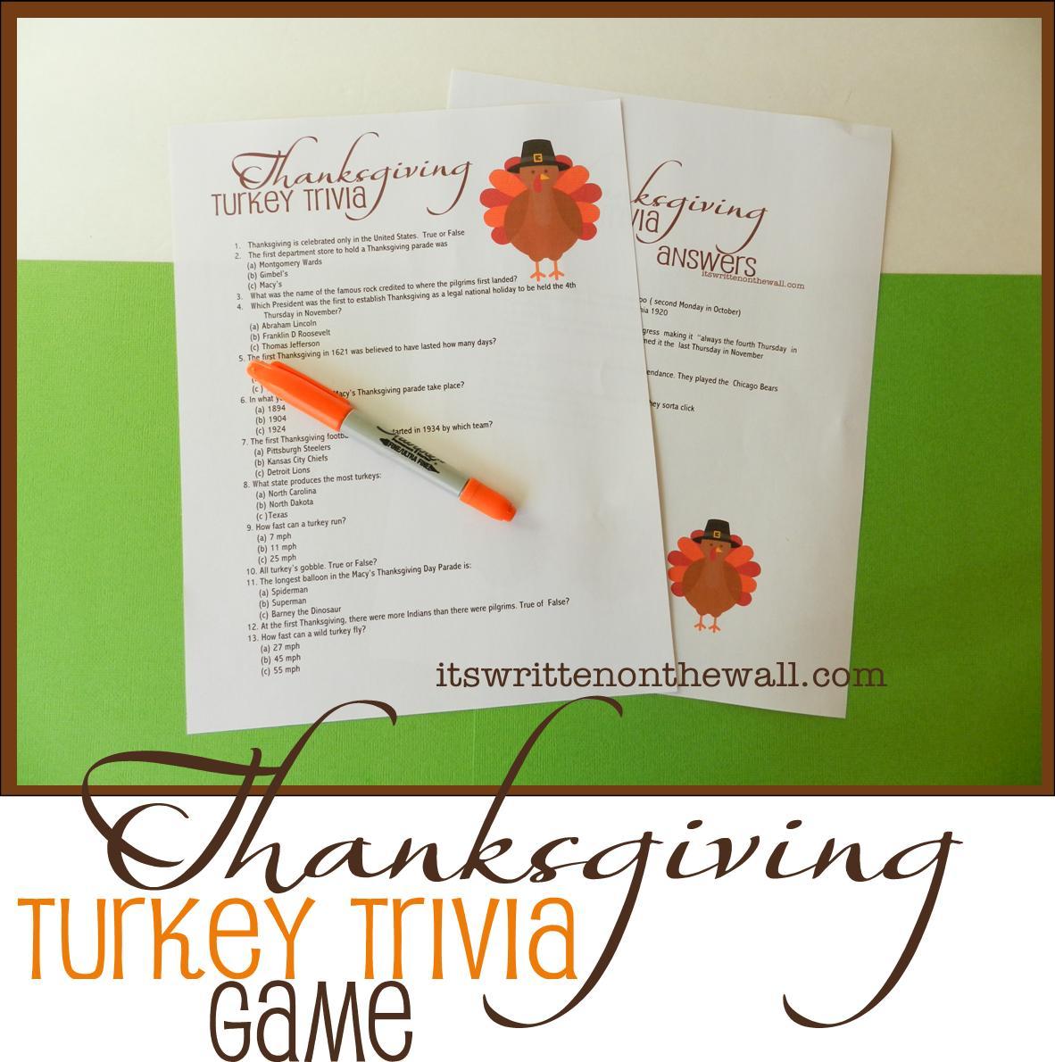 Freebie Thanksgiving Turkey Trivia Sheet Fun Game For