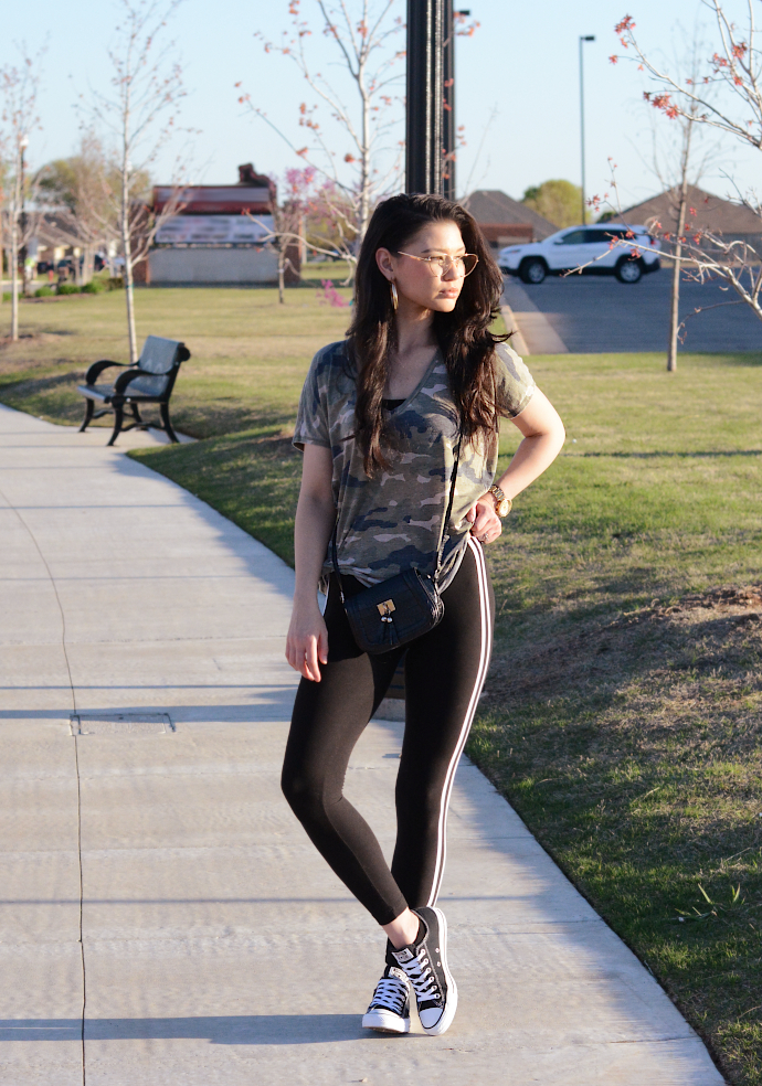 Camouflage Shirt, Side Stripe Leggings
