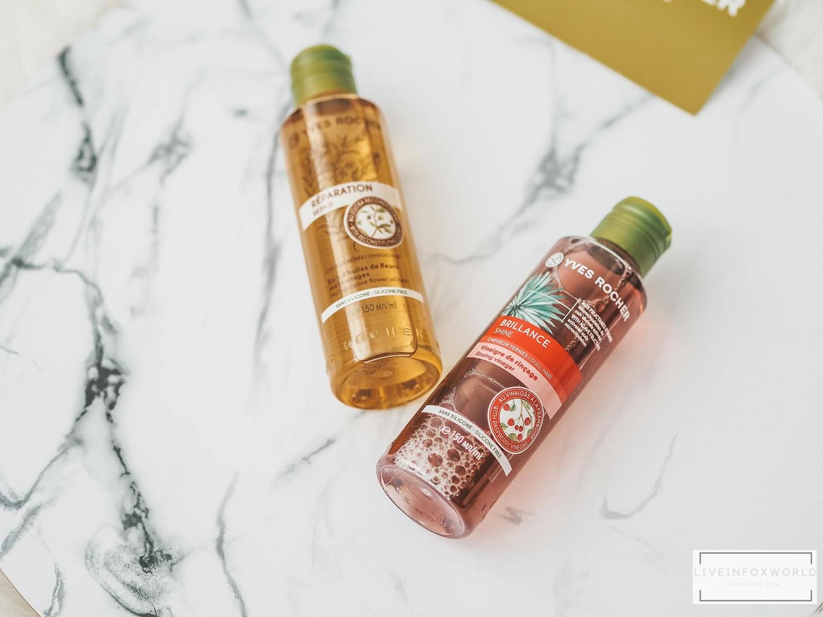 Regeneračný olej na poškodené vlasy a malinový ocot pre lesk vlasov Yves Rocher