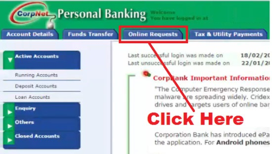 how to request for cheque book in corporation bank
