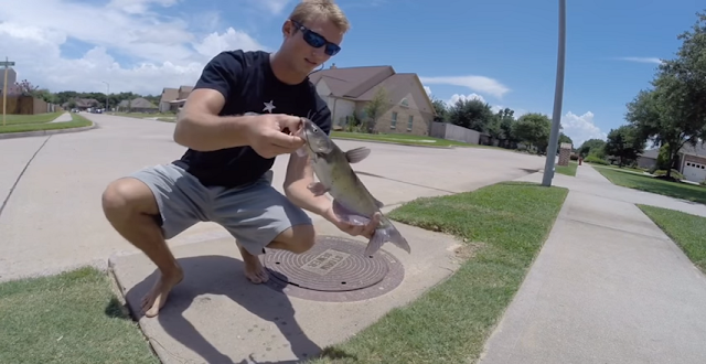Sewer fishing Can fishing get any crazier