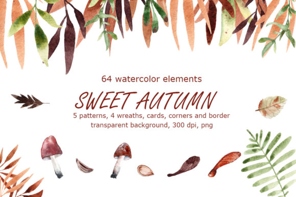 Sweet Autumn Watercolor Clip Art Set