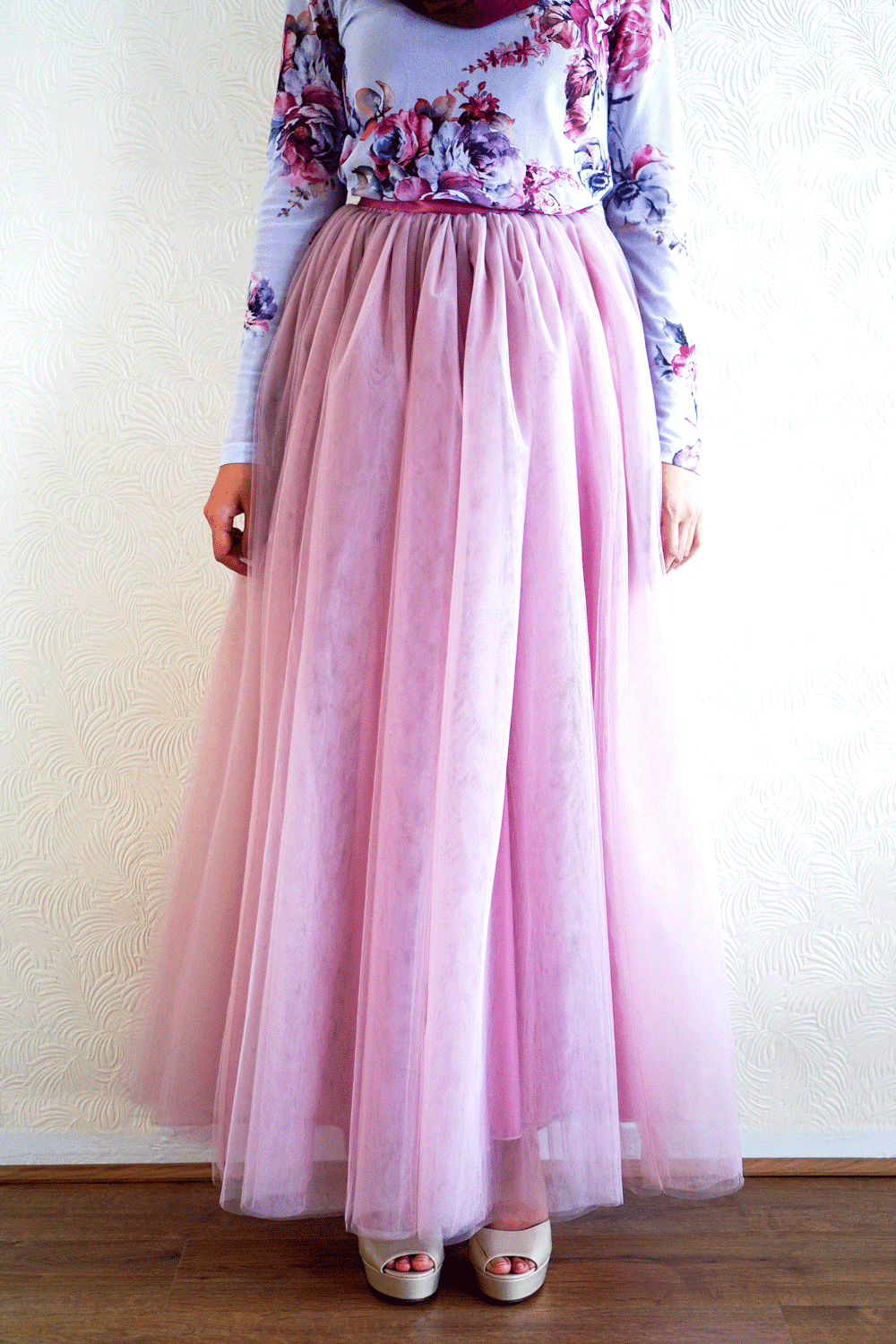 Mauve Tears Tulle Skirt