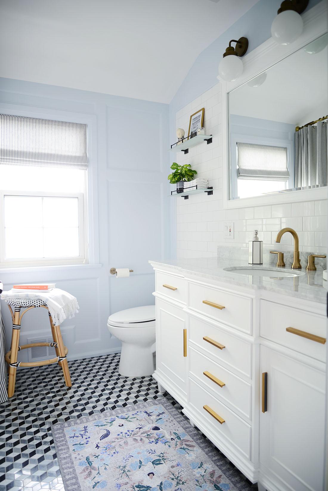 blue bathroom renovation, french bathroom, blue white bathroom remodel