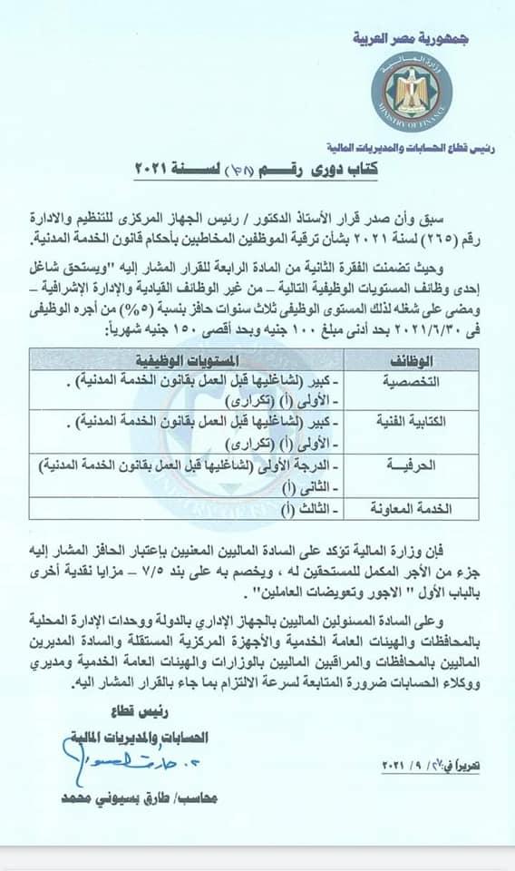 وزارة المالية توافق على صرف حافز لشاغلي درجة كبير 1