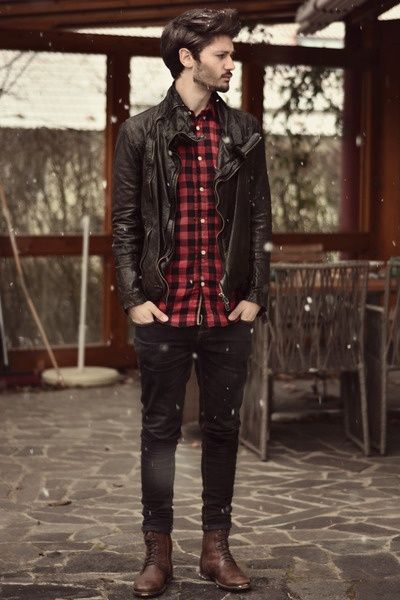 look masculino camisa xadrez jaqueta couro preto