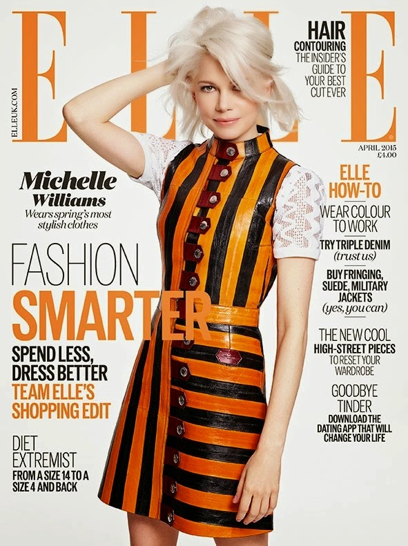 Michelle Williams covers Elle UK April 2015 in a Louis Vuitton dress