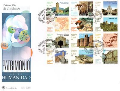 Sobre PDC del Pliego dedicado al Patrimonio de la Humanidad español. Matasellos de Madrid