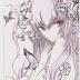 Desenho estilo anime manga nas cores Lilás, roxo e preto