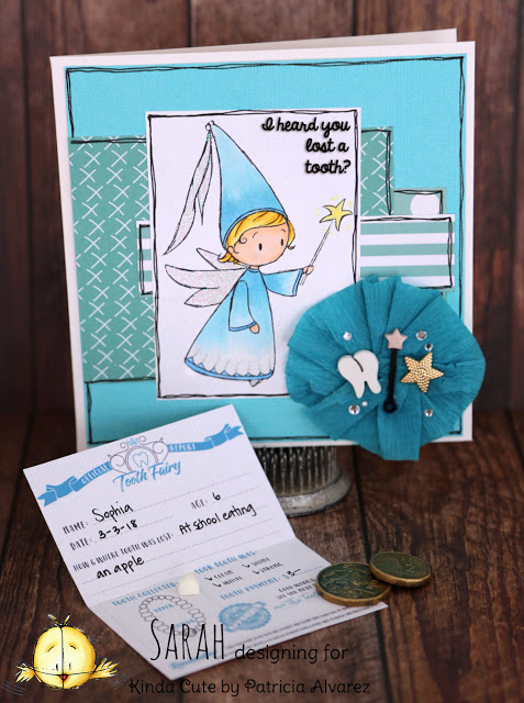 Tooth fairy card with Fairy with wand digital stamp