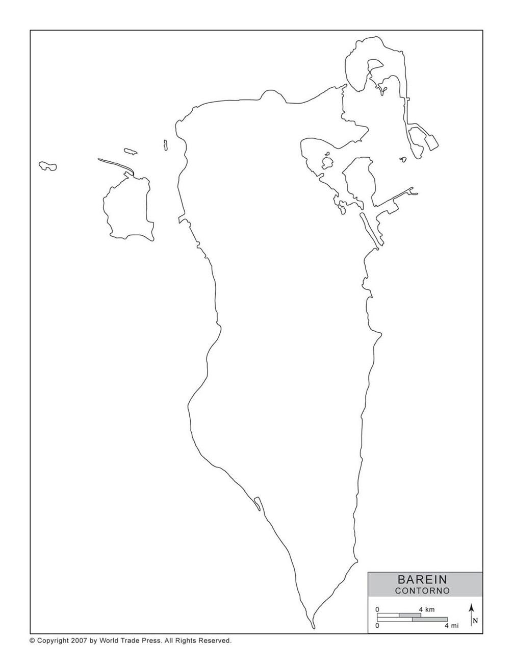 Mapa do Bahrein com Contorno
