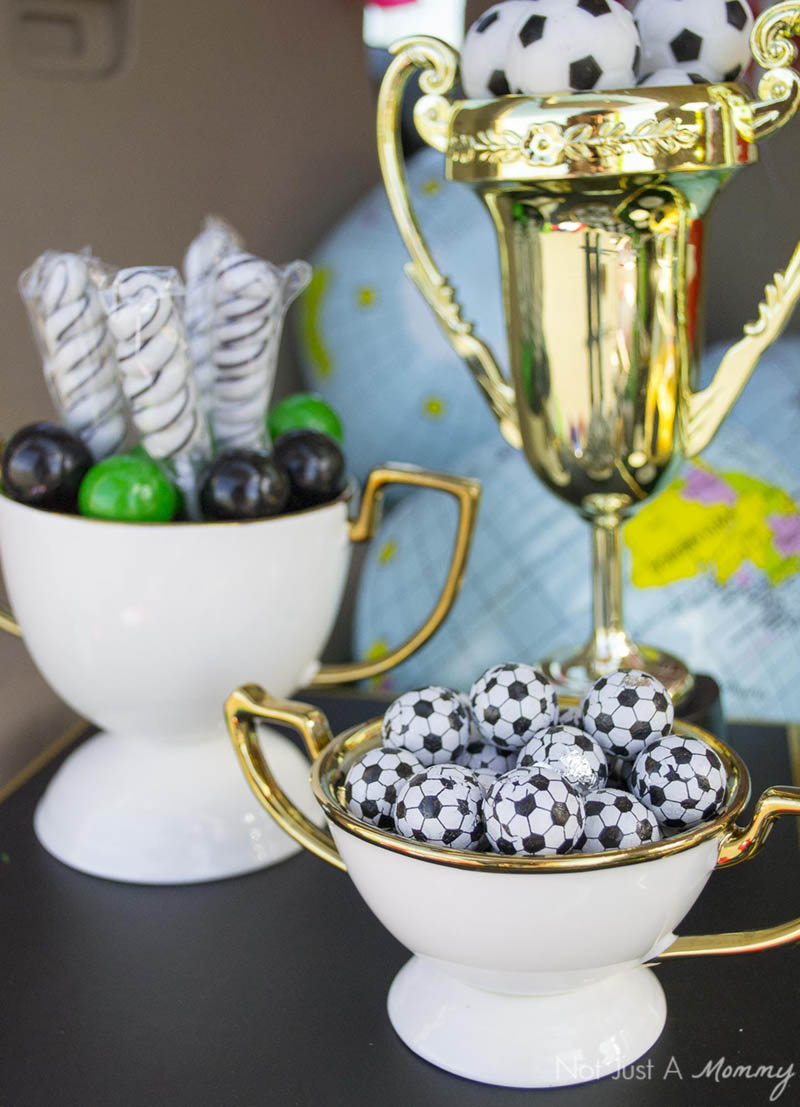 Display sweets in trophy pieces for a soccer tailgate party