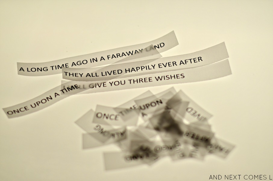 Fairy tale sentence building light table activity for kids with free printable from And Next Comes L