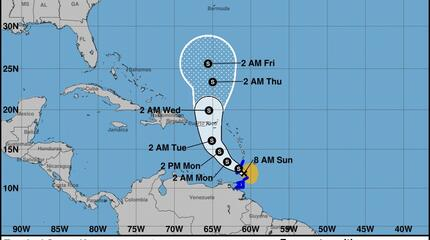 VENEZUELA:  Inameh  informó que onda tropical Nro. 47 transitará por algunas zonas de Venezuela se convirtió en ciclon Karen.