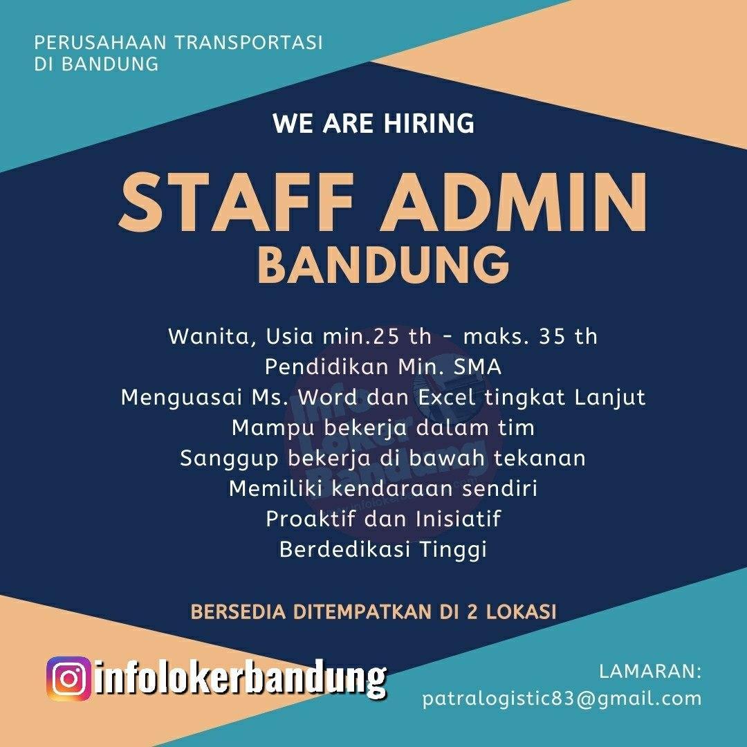 Lowongan Kerja Staff Admin Perusahaan Transportasi Logistic Bandung Januari 2020