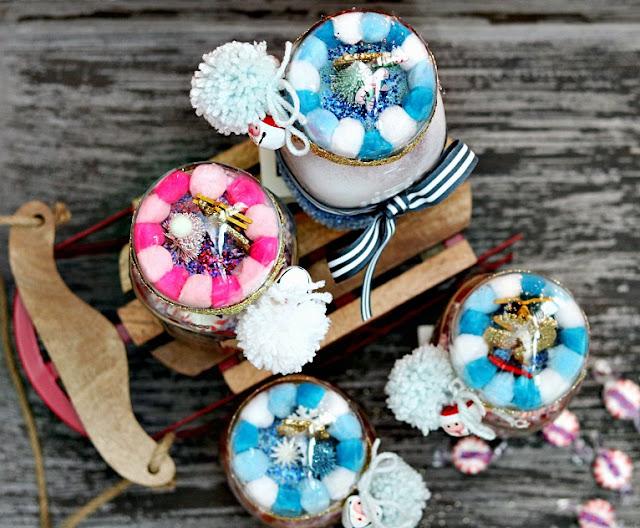 Mason, jar, pompoms, handmade, miniature ornaments candy, jar, athomewithjemma