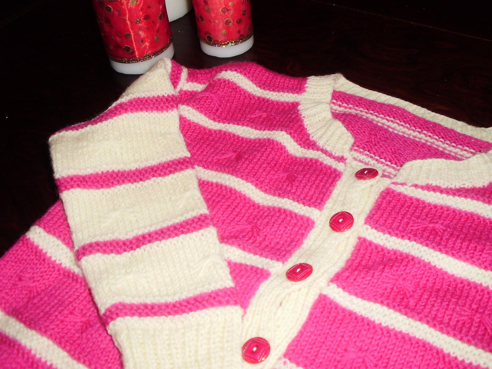 fd3ac21a37e Χειροποίητη πλεκτή παιδική ζακέτα μάλλινη σε διχρωμία ροζ-άσπρου για  κοριτσάκια