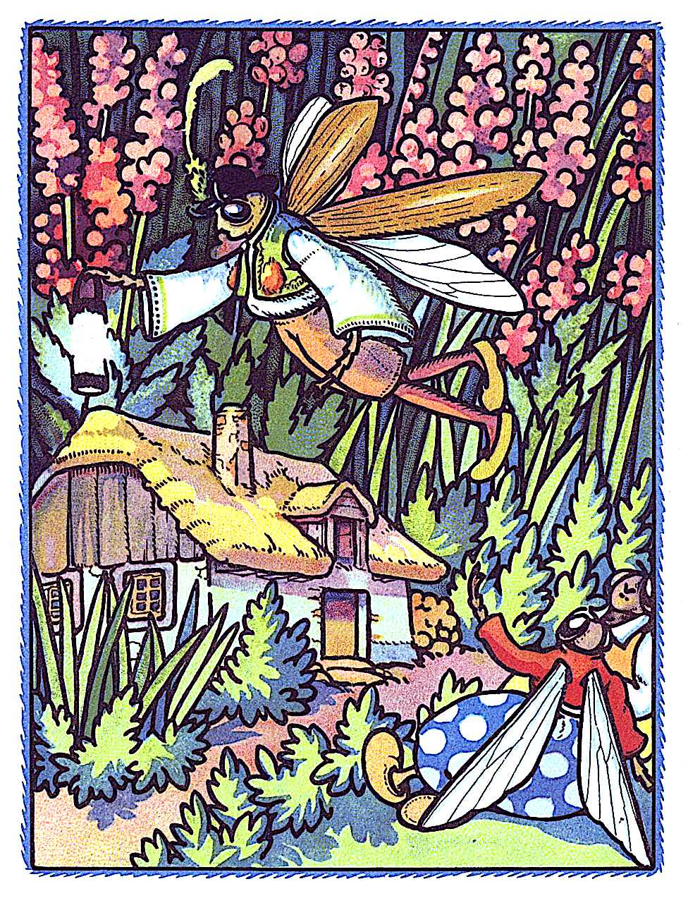 a Rudolf Mates children's book illustration of bugs or insects and their house in a wild field