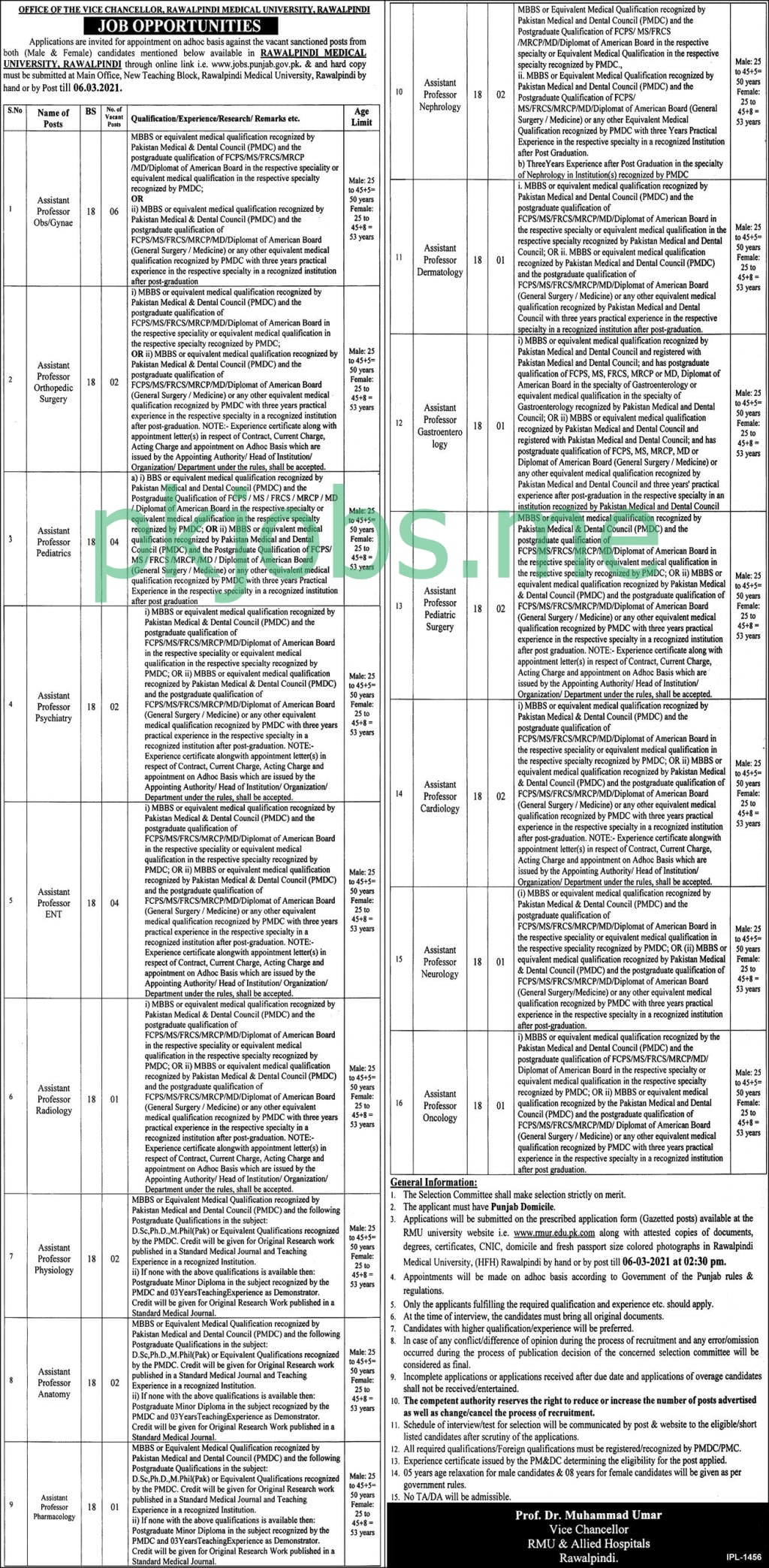 Latest Rawalpindi Medical University Posts 2021