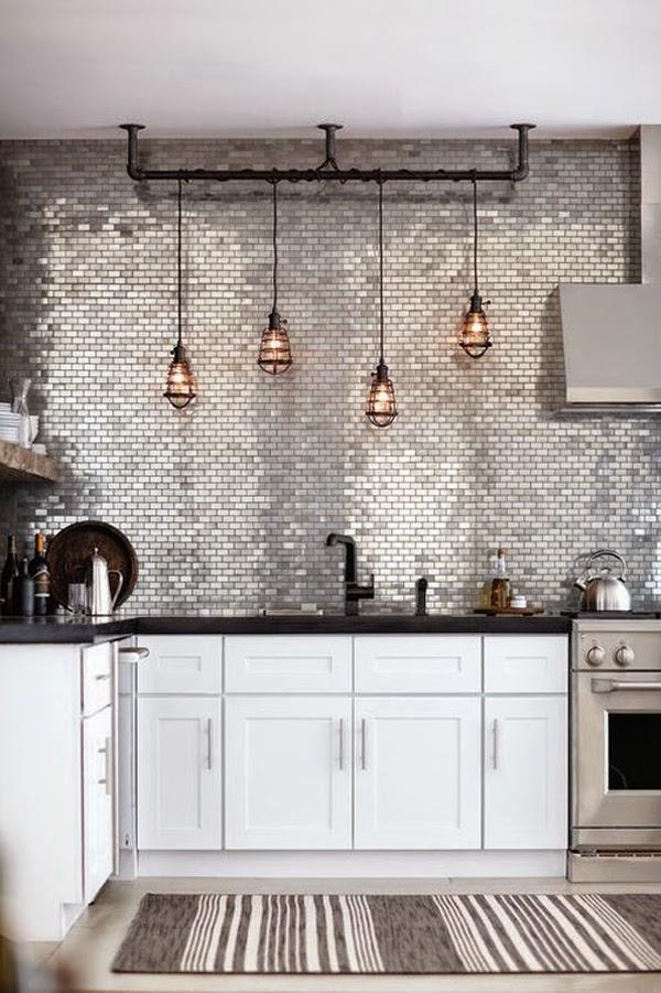 srebrna kuchnia, inspiracje, błyszcząca kuchnia