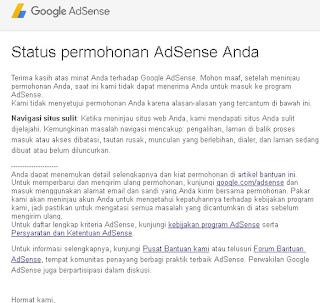 Status permohonan adsense