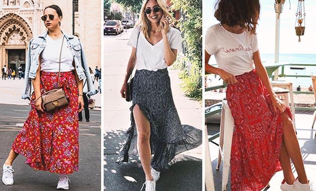 White T-shirt + Maxi skirt