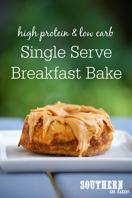 High Protein Single Serve Breakfast Bake Recipe | high protein, low carb, low fat, gluten free, sugar free, clean eating friendly, single serving breakfast recipe