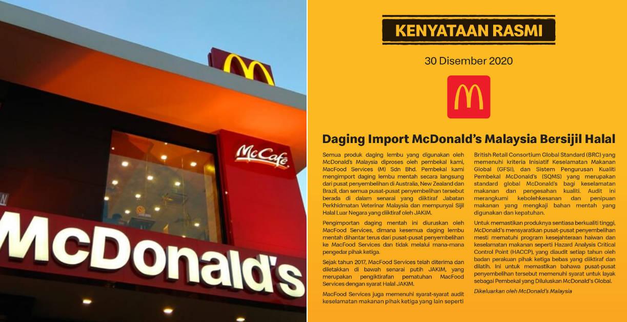 Daging Import McDonalds Malaysia Bersijil Halal