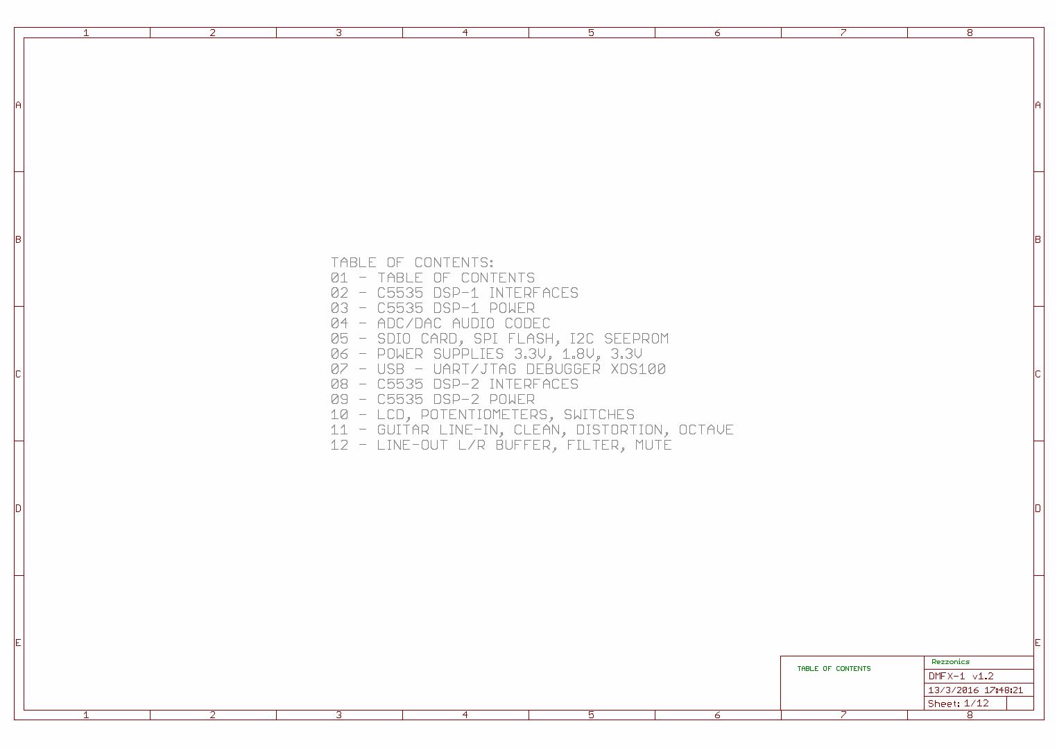 Rezzonics Dmfx 1 1 Main Board Schematics And Bom