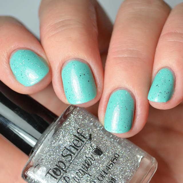 holo nail polish top coat four finger swatch