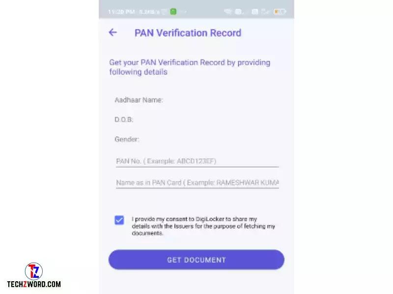 ડિજીલોકર એપમાં પાન કાર્ડ માટે માહિતી ભરો