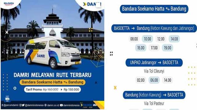 Jadwal Damri Soekarno Hatta ke Bandung & Tarifnya