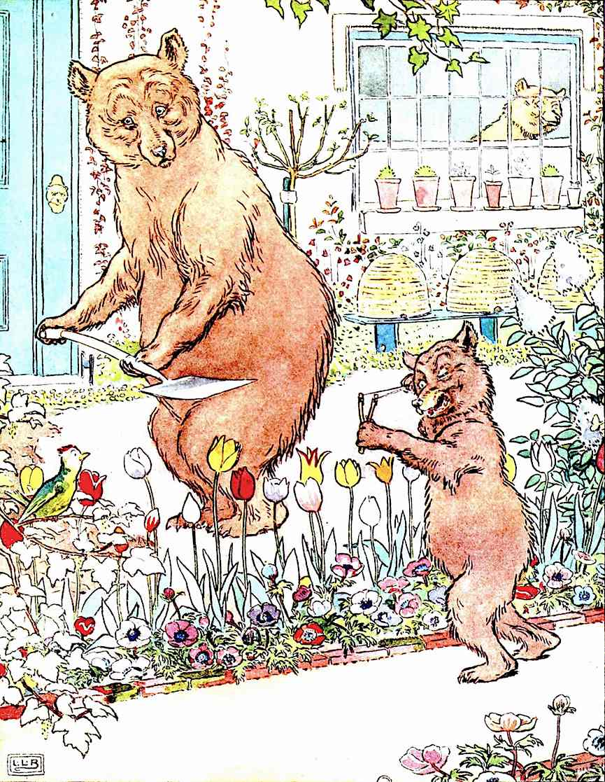 an L. Leslie Brooke children's book illustration of dad and son bear bears at home