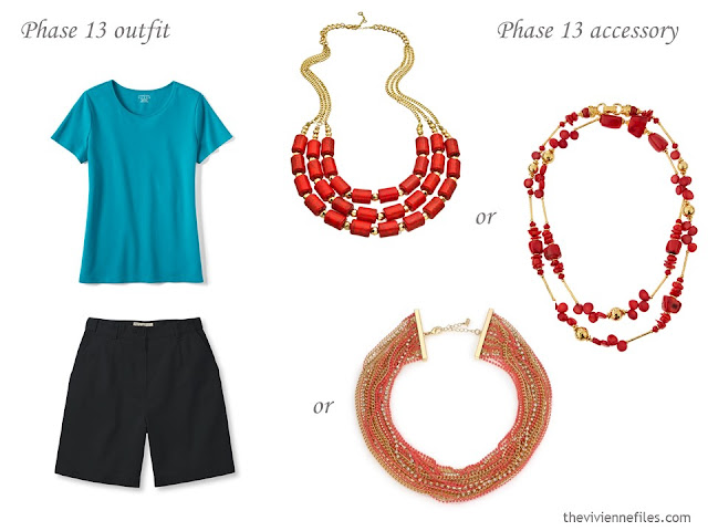 how to accessorize a capsule wardrobe in a Turquoise, Coral, Black and Ivory color palette - Jewellery