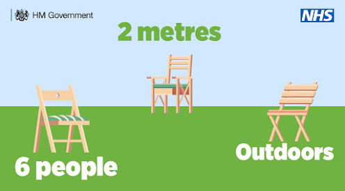 Meet outdoors 6 people 2 metres