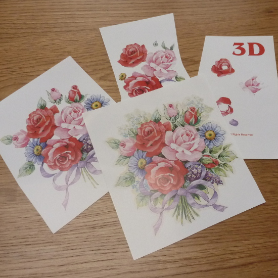 3D decoupage art print sheet cut down into individual paper pieces