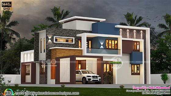 Box model modern home architecture rendering