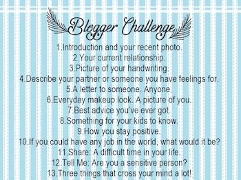 BLOGGER CHALLENGE | I CHALLENGE MYSELF TOO