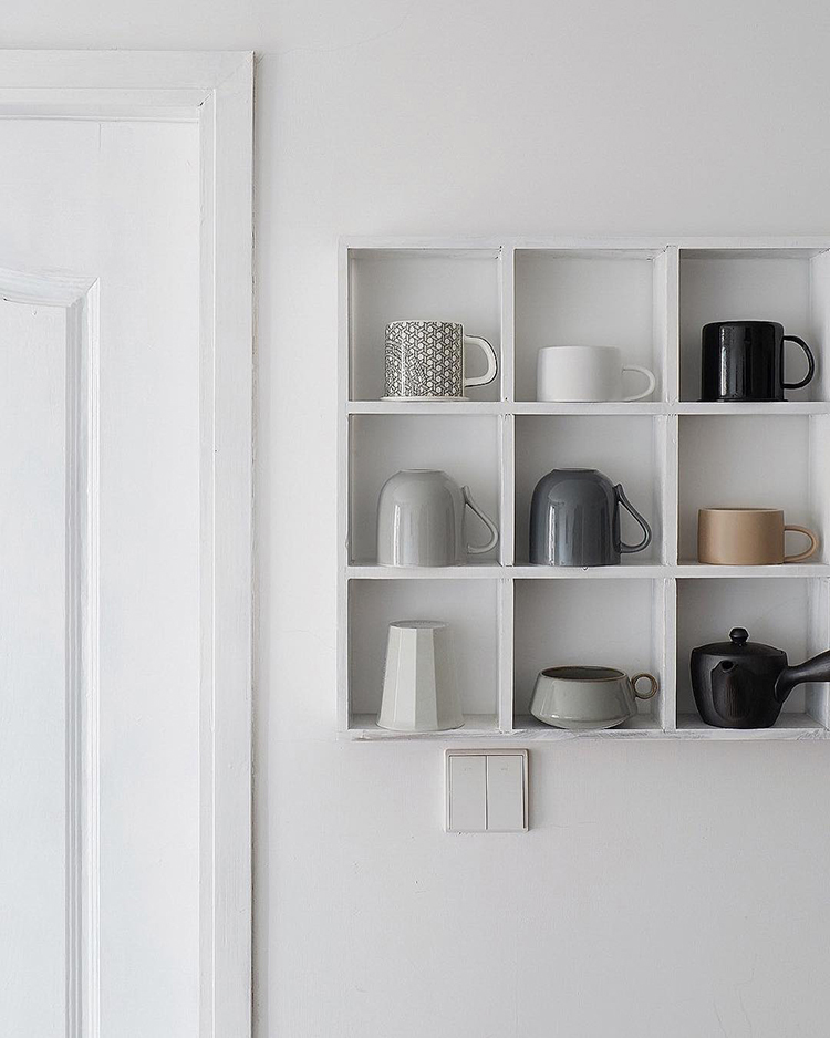 INSTAGRAM CRUSH: Yitai Hu. Kitchen open shelving to display cups and mugs