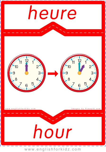 hour in French, heure en anglais, English-French time flashcards