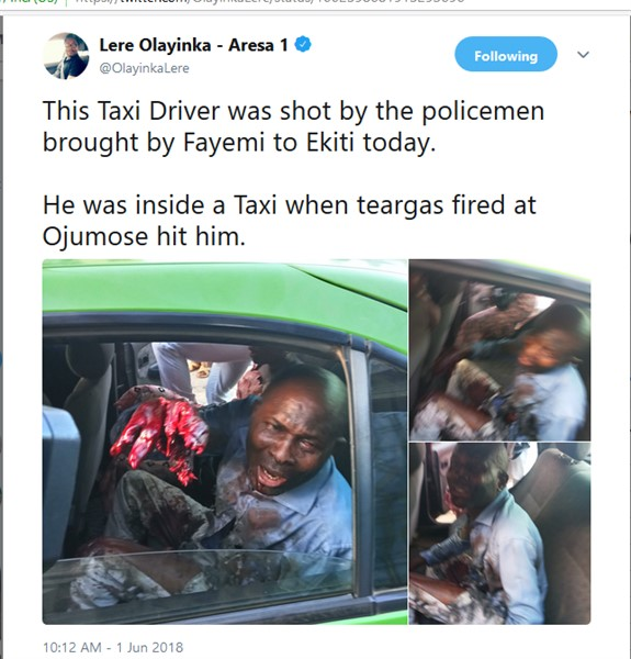 """""""Bloodshed in Ado Ekiti now as Fayemi and his APC invaded Ekiti with thugs""""  (Photos from scene)"""