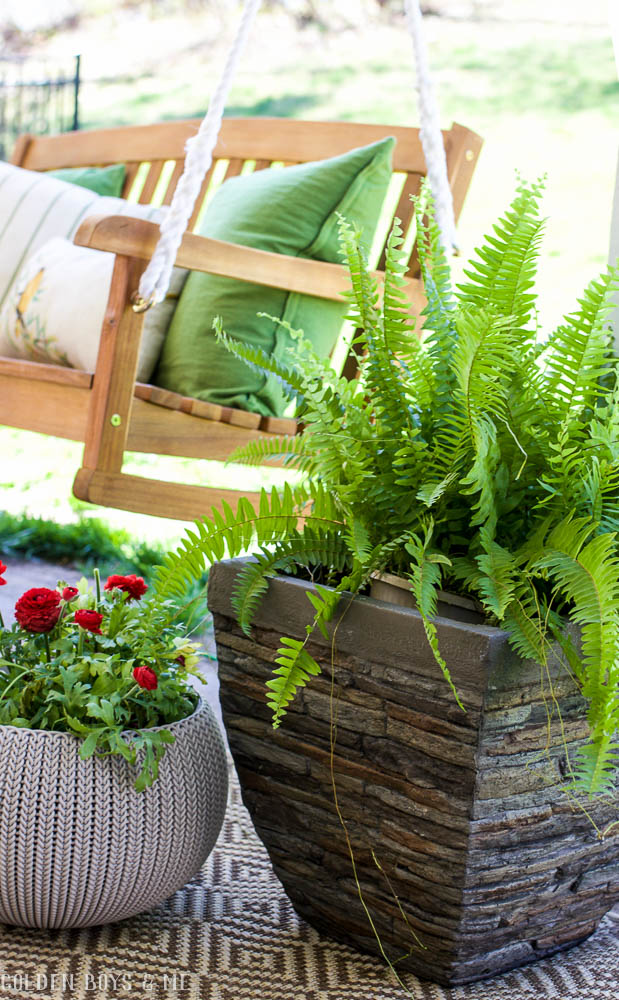 Potted fern in faux stone planter in Spring Patio Refresh