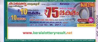 Kerala Lottery Result 3-6-2017 Karunya (KR-296)