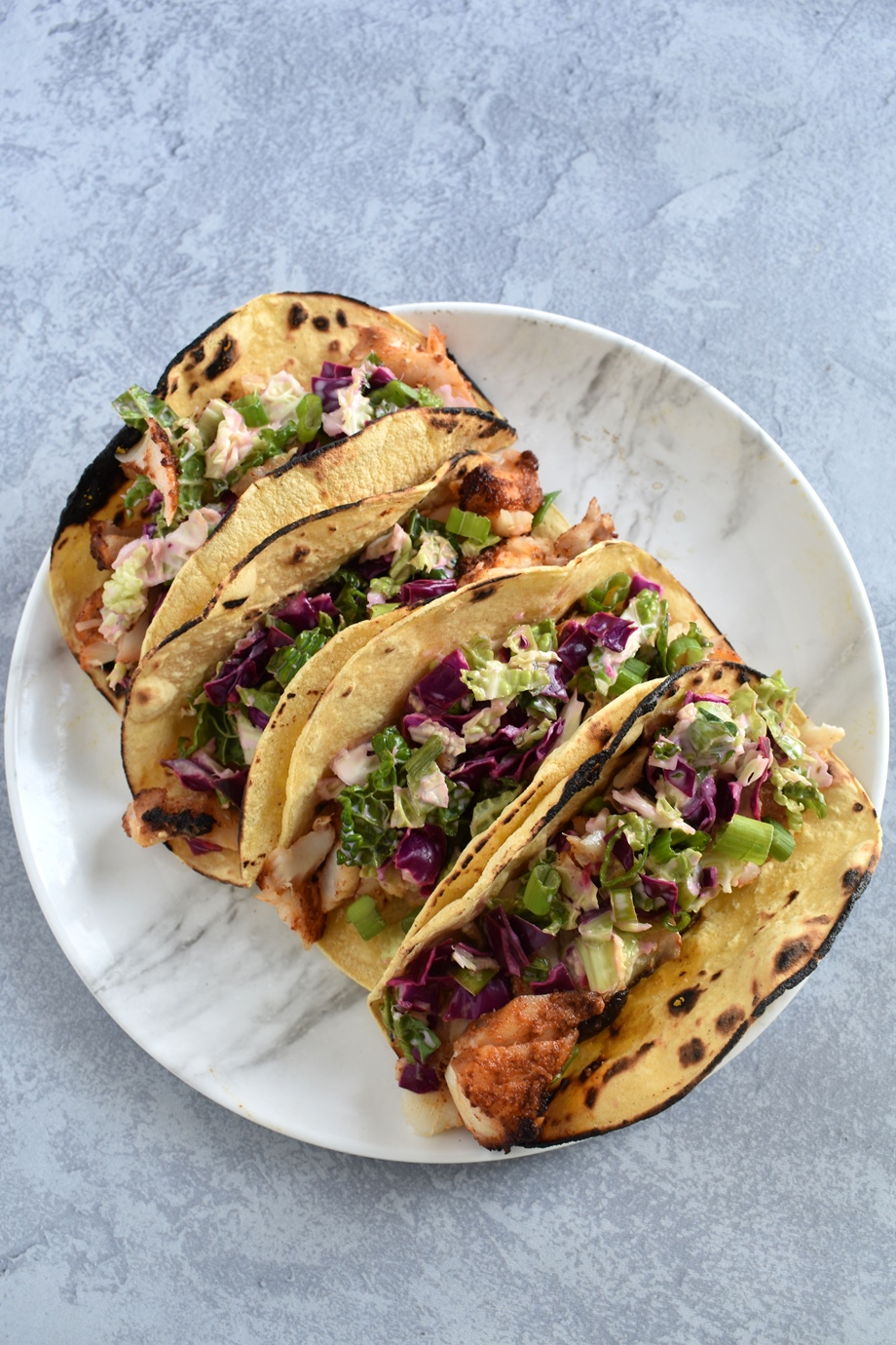Blackened Cod Tacos with Creamy Lime Coleslaw