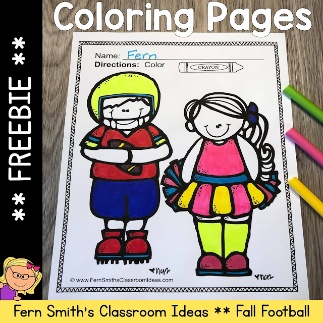 Click Here to Download This FREEBIE - Fall Football and Cheerleading Coloring Pages Resource For Your Classroom Today!
