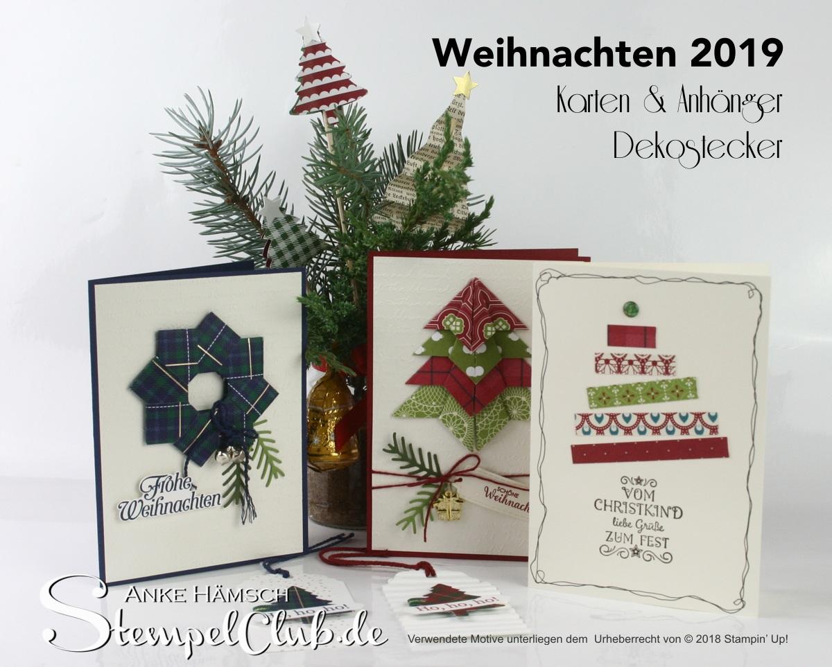 bunte Weihnachtskarten mit Faltstern, Origami-Weihnachtsbaum und kleine Anhänger, Dekostecker